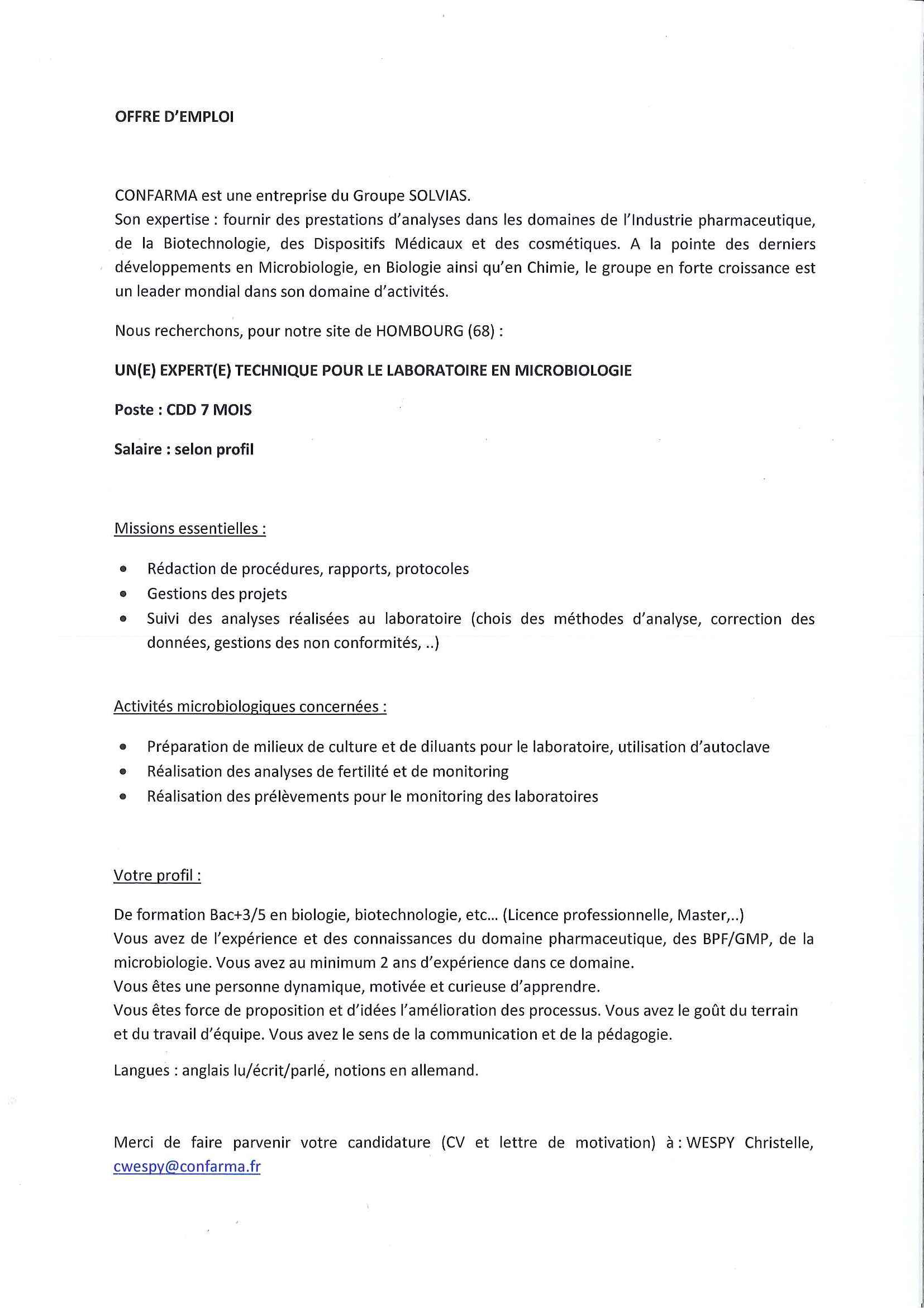 Ebook Lettre De Motivation Technicien De Laboratoire Microbiologie