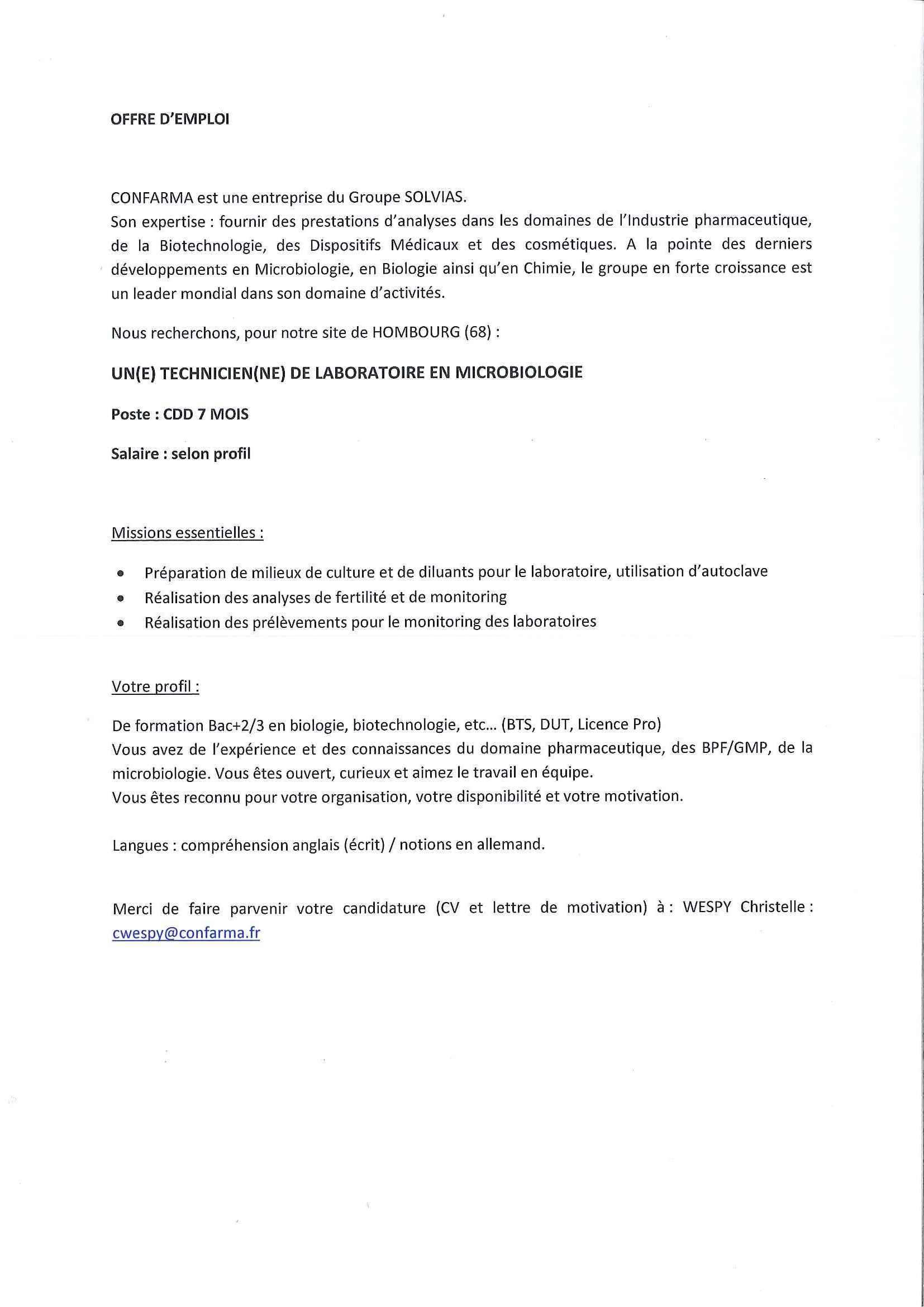 Rtf Lettre De Motivation Technicien De Laboratoire